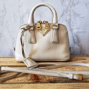 Prada Saffiano Lux Mini Shoulder-Bag in White